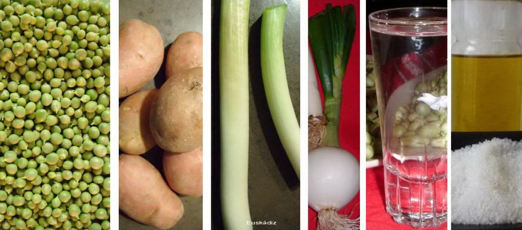 Guisantes, patatas, puerro, cebolla, un poco de manzanilla, aceite y sal-Euskádiz