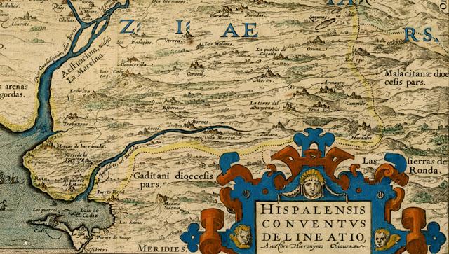 Mapa del río Guadalete de 1579 de Jerónimo Chaves