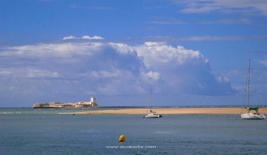 Vista del islote desde el Poblado de Sancti Petri.