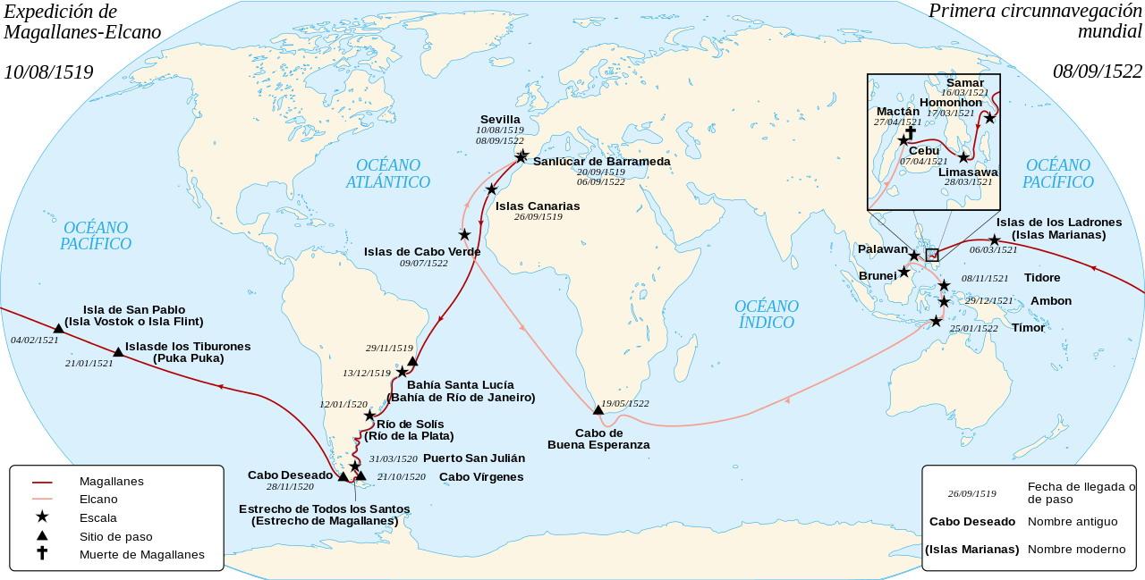 Mapa de la expedición de Magallanes y  Juan Sebastián Elcano