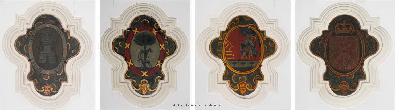 Escudos de las provincias vascas en la bóveda de la Iglesia de San Agustín de Cádiz