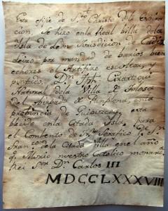 Manuscrito de la autoría de Cirartegui.