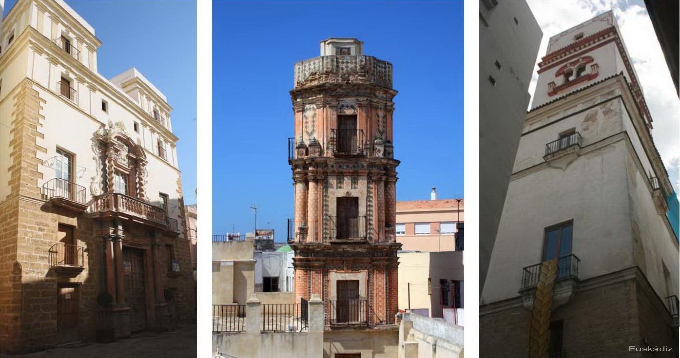 de izq. a dech.: Casa del Almirante, la Bella Escondida y Torre Tavira