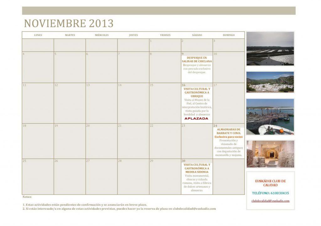 Calendario actividades noviembre 2013